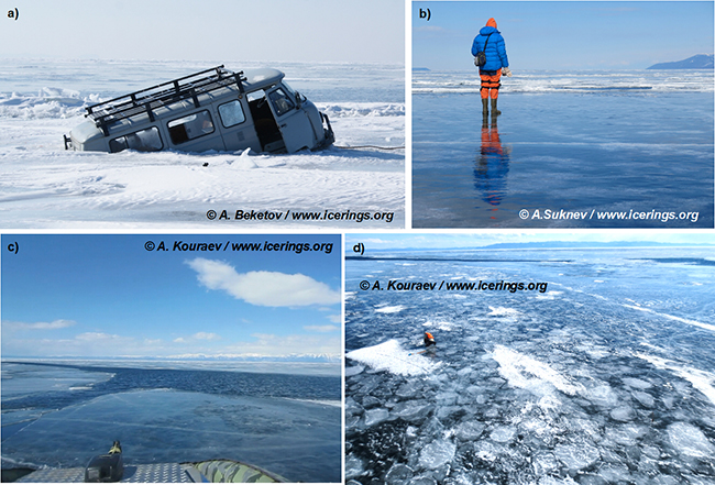 Montage d eplusieurs photos du lac Baïkal et de ses anneaux de glace.