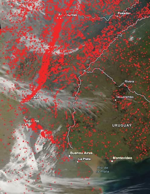 Illustration montrant le recensement des feux dans le Nord-Est argentin du 18 au 24 août 2020.